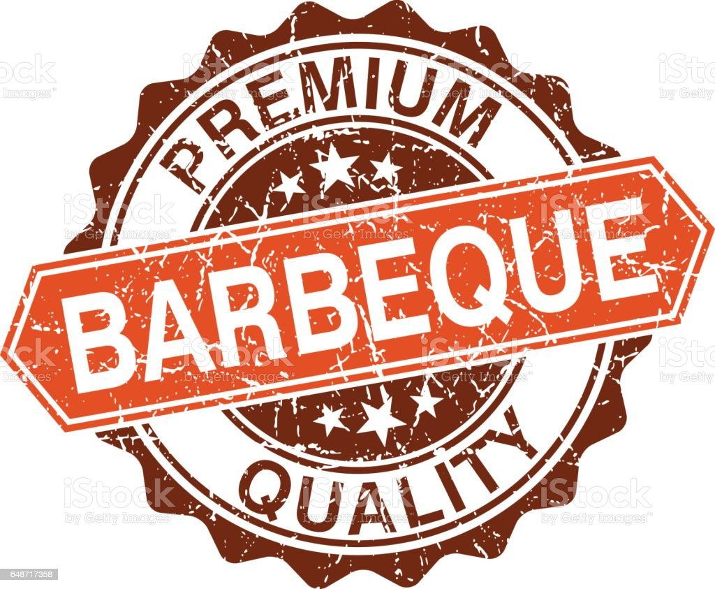 Barbeque grungy stamp isolated on white background vector art illustration