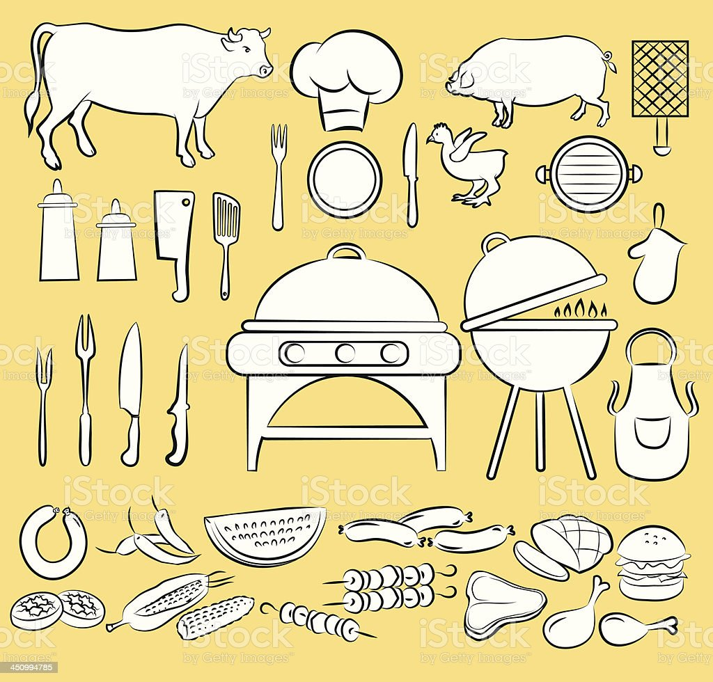 Barbeque Icon Set royalty-free stock vector art