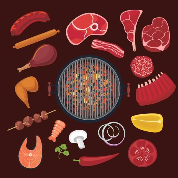 barbeque zutaten gesetzt. cartoon-symbolsammlung für bbq - roastbeef stock-grafiken, -clipart, -cartoons und -symbole
