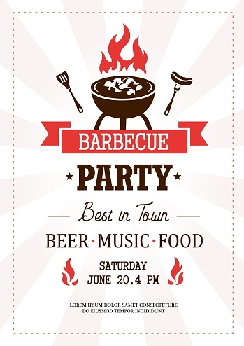 Barbeque party best in town template with text