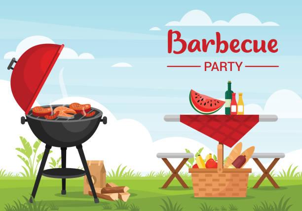 impreza grillowa na zewnątrz kolorowe płaskie ilustracji wektorowej - barbecue stock illustrations