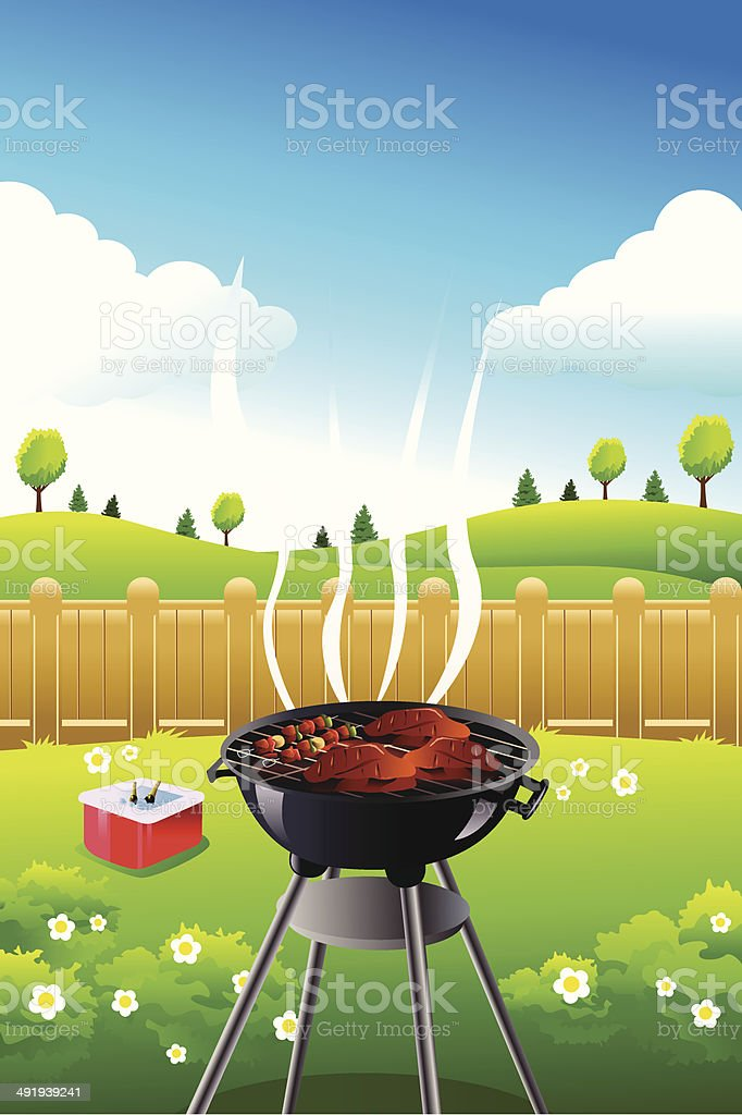 Barbeque party poster vector art illustration