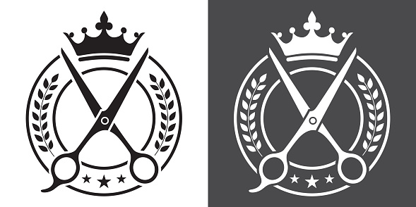Barber and Barbershop Black and White Vector Badge