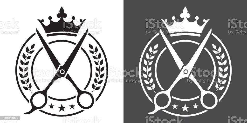 Barber and Barbershop Black and White Vector Badge vector art illustration