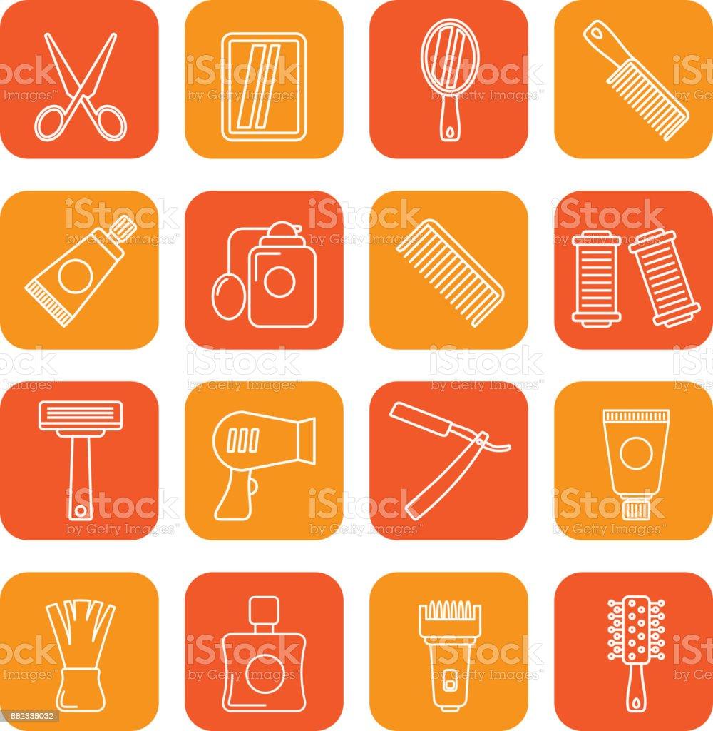 barbeiro e cabeleireiro ícones - icon set vector - ilustração de arte em vetor