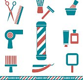 Barber and hairdresser silhouette icons set 2