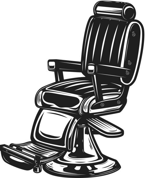 Barber Chair Isolated On White Background Vector Art Illustration