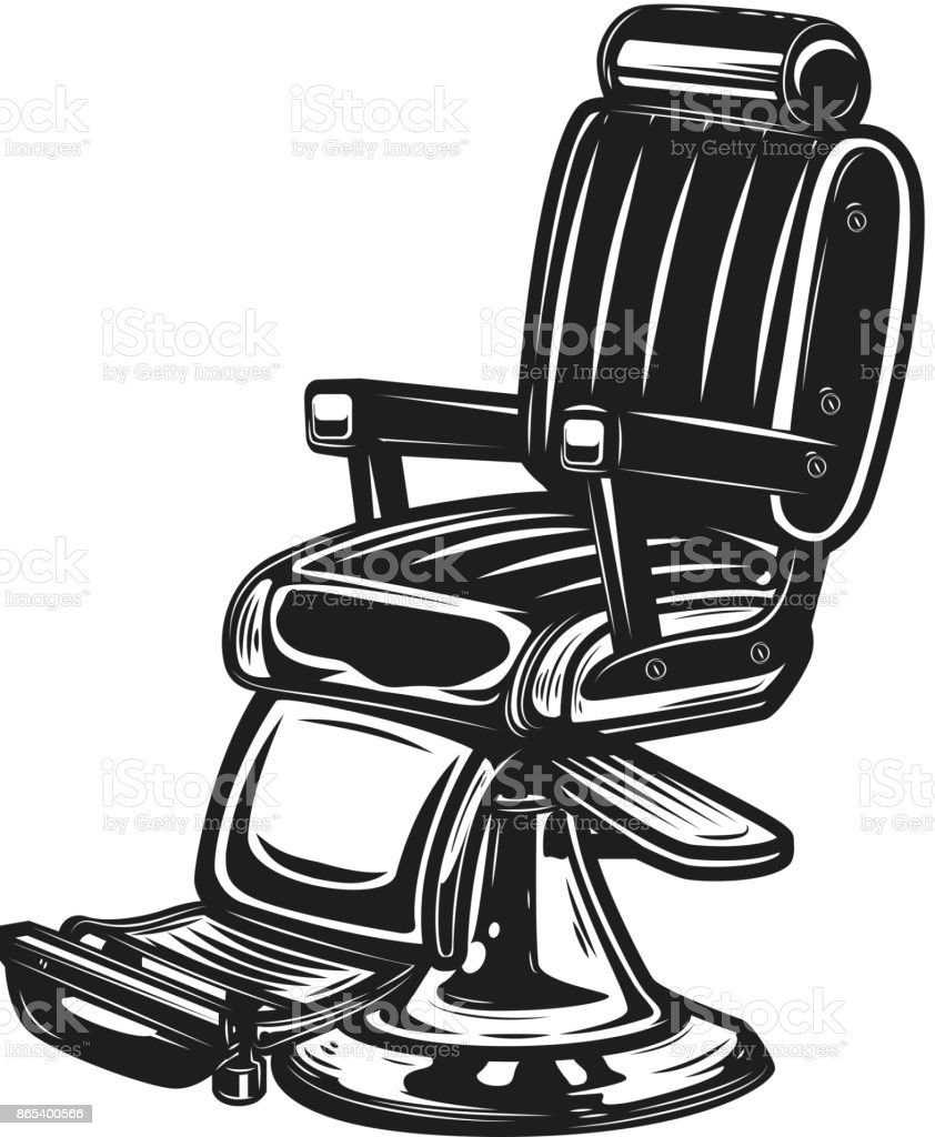 Barber Chair Isolated On White Background. Vector Art Illustration