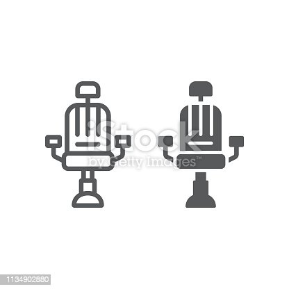 Barber chair line and glyph icon, barber and interior, arm chair sign, vector graphics, a linear pattern on a white background, eps 10.