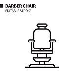 Barber Chair Line Icon, Outline Vector Symbol Illustration. Pixel Perfect, Editable Stroke.