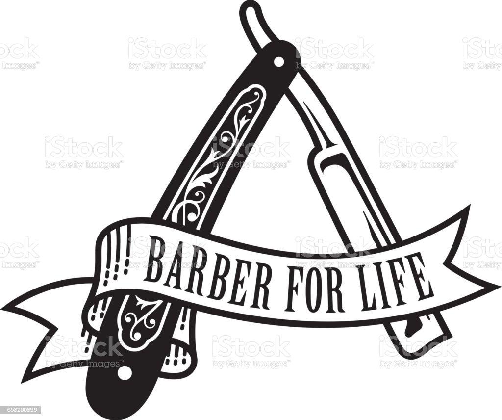 Barber For Life Design vector art illustration
