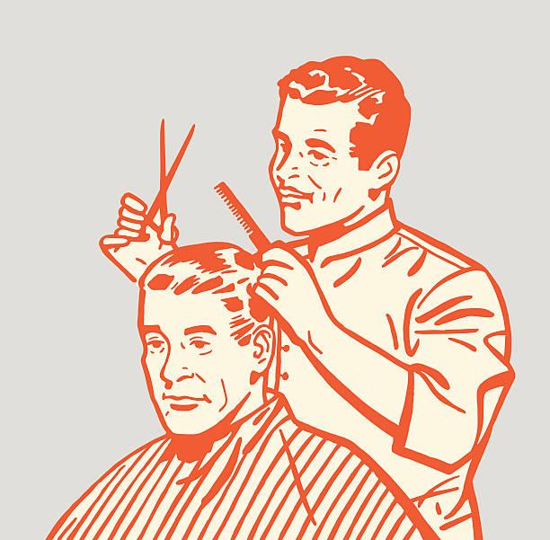 barber giving haircut - 髪型点のイラスト素材/クリップアート素材/マンガ素材/アイコン素材