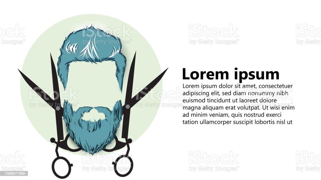 barbeiro, cabeleireiro vintage inicialização negócios arte papel cut ilustração vetorial de estilo 3D - ilustração de arte em vetor