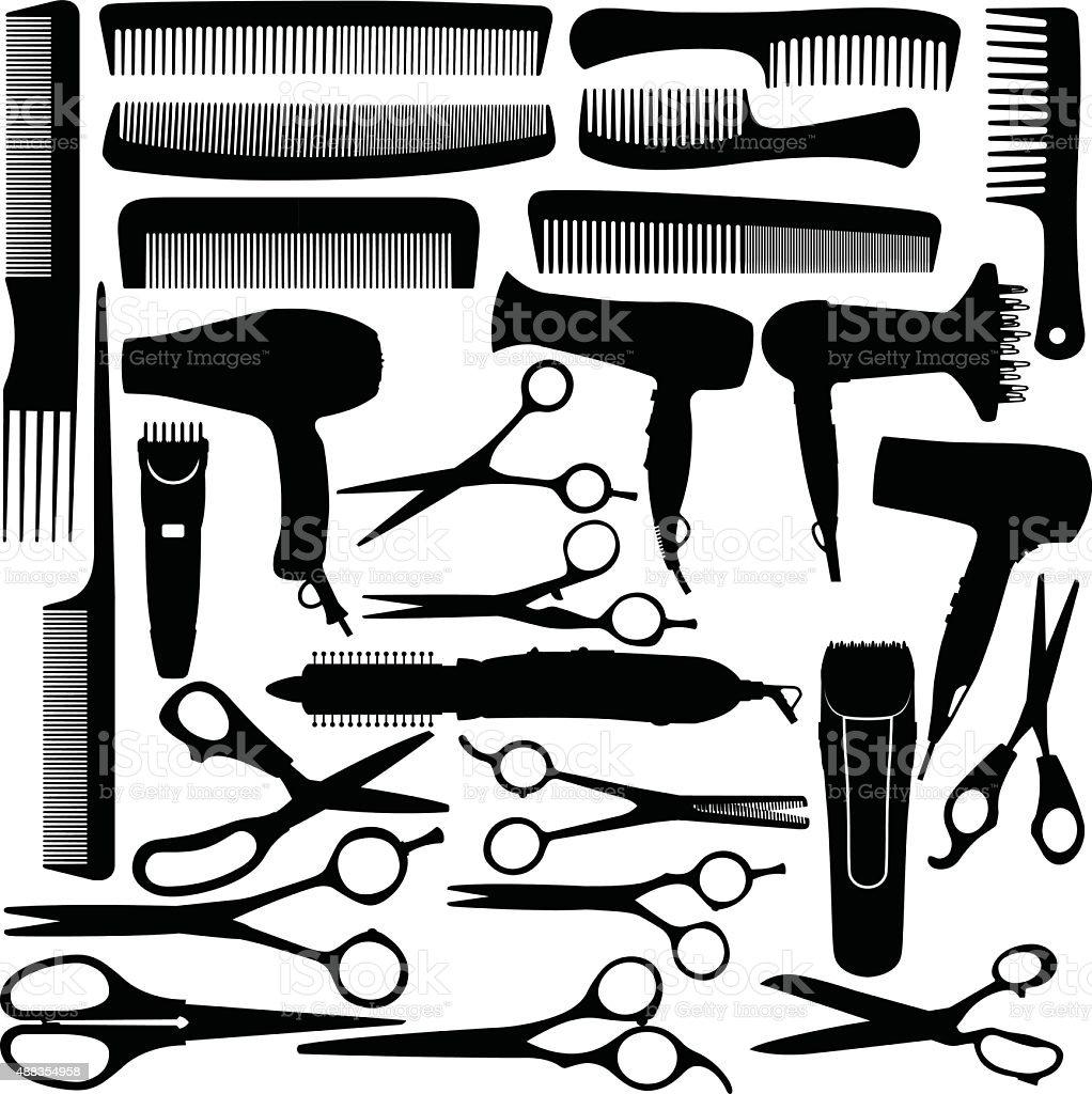 Barber salão de beleza Equipamento, secador de cabelo, tesoura e pente - ilustração de arte em vetor