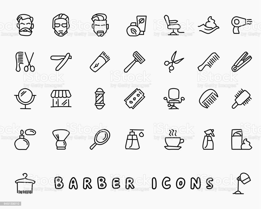 barbeiro mão desenhada ícone design ilustração, ícone de estilo de linha, projetada para o app e web - ilustração de arte em vetor