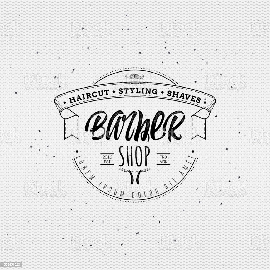 Barber label sticker badge hand-lettering, can be used to vektör sanat illüstrasyonu