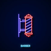 istock Barber Neon Style, Design Elements 1201857548