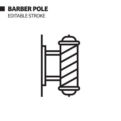 Barber Pole Line Icon, Outline Vector Symbol Illustration. Pixel Perfect, Editable Stroke.