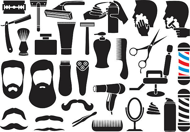 barber salon or shop vector icons set - rasieren stock-grafiken, -clipart, -cartoons und -symbole