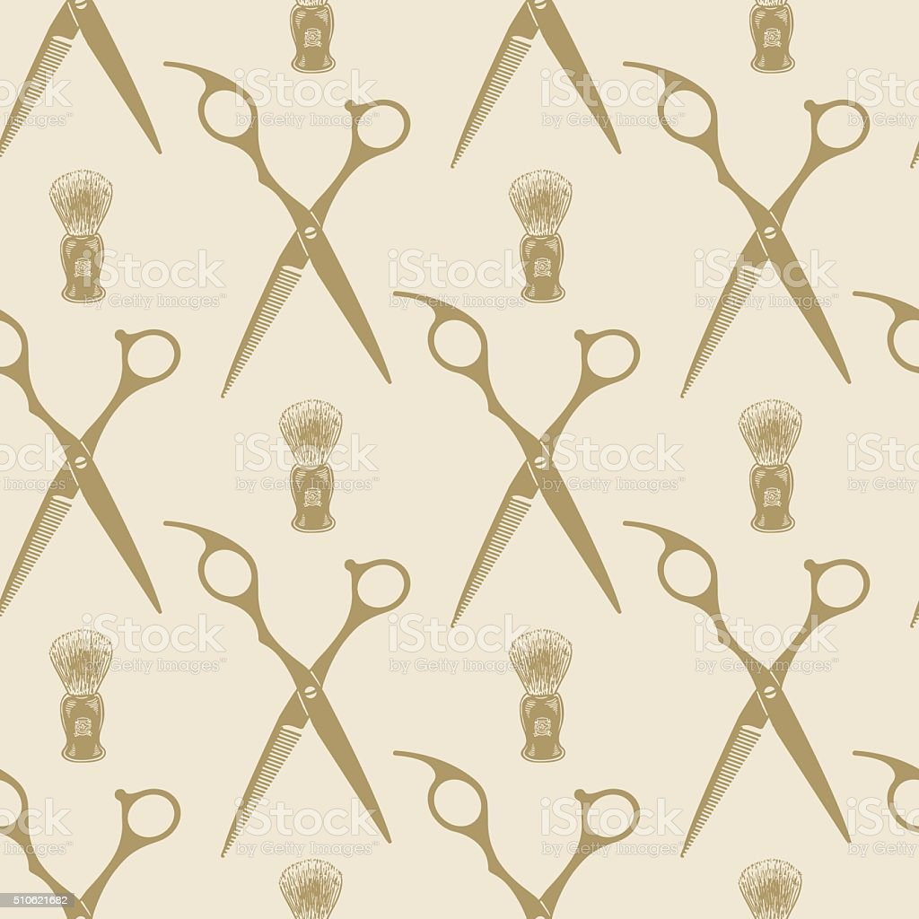 Barber scissors beard brush pattern tile background seamless vector art illustration