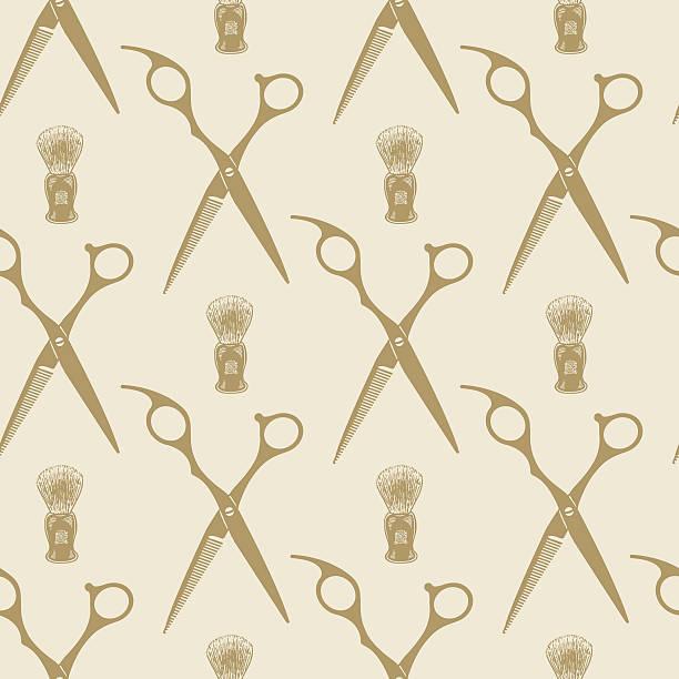 Barber scissors beard brush pattern tile background seamless vector art illustration
