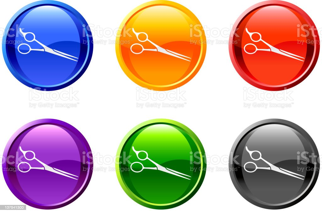Barber scissors royalty free vector art button in 6 colors royalty-free stock vector art