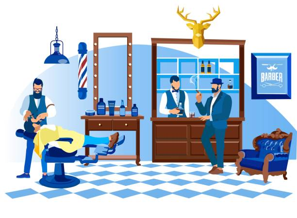 stockillustraties, clipart, cartoons en iconen met barber scheren klant met rechte scheermes, salon - guy with cigar