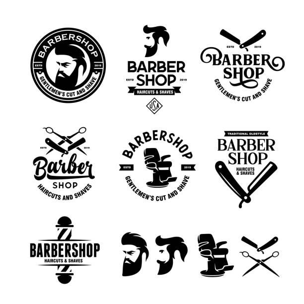理髪店バッジセット。ベクターヴィンテージイラスト。 - 床屋点のイラスト素材/クリップアート素材/マンガ素材/アイコン素材