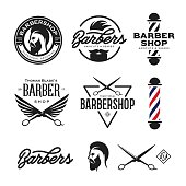 Barber shop badges set. Vector vintage illustration.