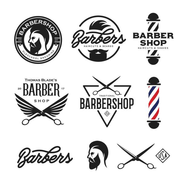 Barber shop badges set. Vector vintage illustration. vector art illustration