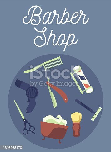 istock Barber shop banner with shaving and hairdressing tools flat vector illustration. 1316988170