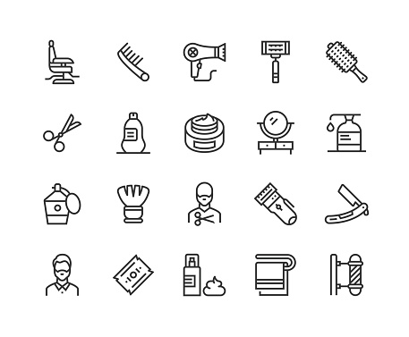 Barber Shop, Barber Chair, Comb, Hair Dryer, Razor Blade, Hair Icons