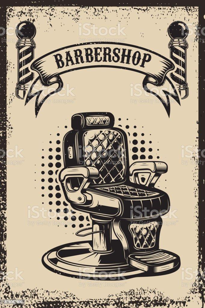 Barbearia. Cadeira de barbeiro em fundo grunge. Elemento de design para o cartaz, emblema, etiqueta, t-shirt. Ilustração vetorial - ilustração de arte em vetor