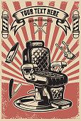 Barber shop. Barber chair on grunge background. Design element for poster, emblem, label, t shirt.
