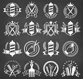 Barber Shop Black and White Badges on Chalk Board. This royalty free vector icon set includes barber shop badges on a chalk board background. each badge can be used separately.