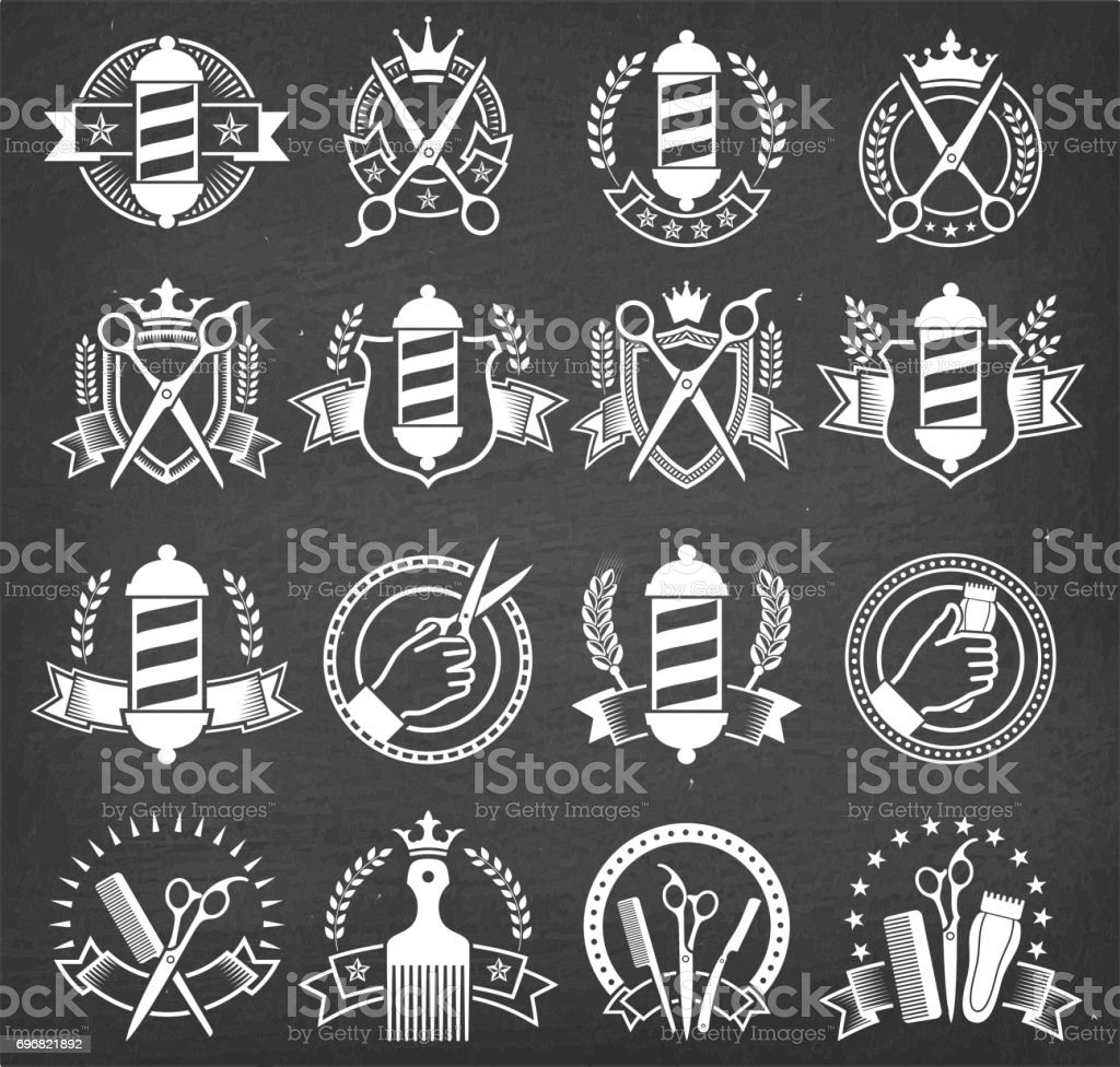 Barber Shop Black and White Badges on Chalk Board vector art illustration