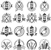 Barber Shop Black and White Badges