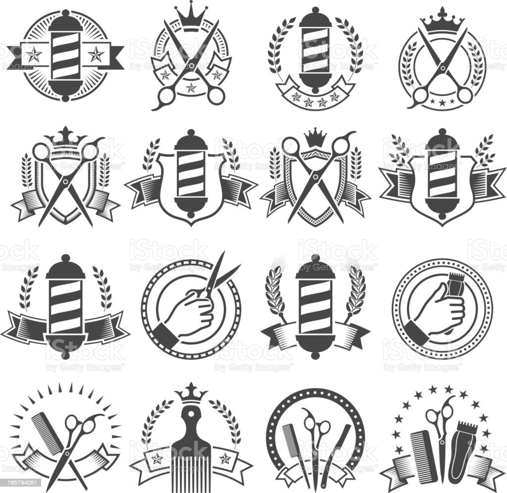 Barber Shop preto e branco de medalhas - ilustração de arte em vetor