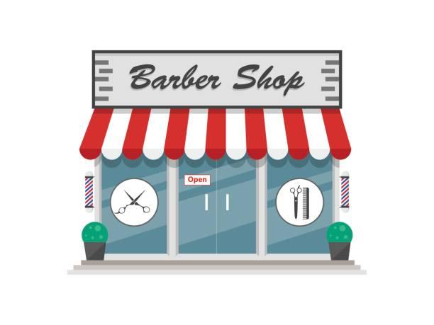 理髪店の建物平面ベクトル - 美容室 3d点のイラスト素材/クリップアート素材/マンガ素材/アイコン素材