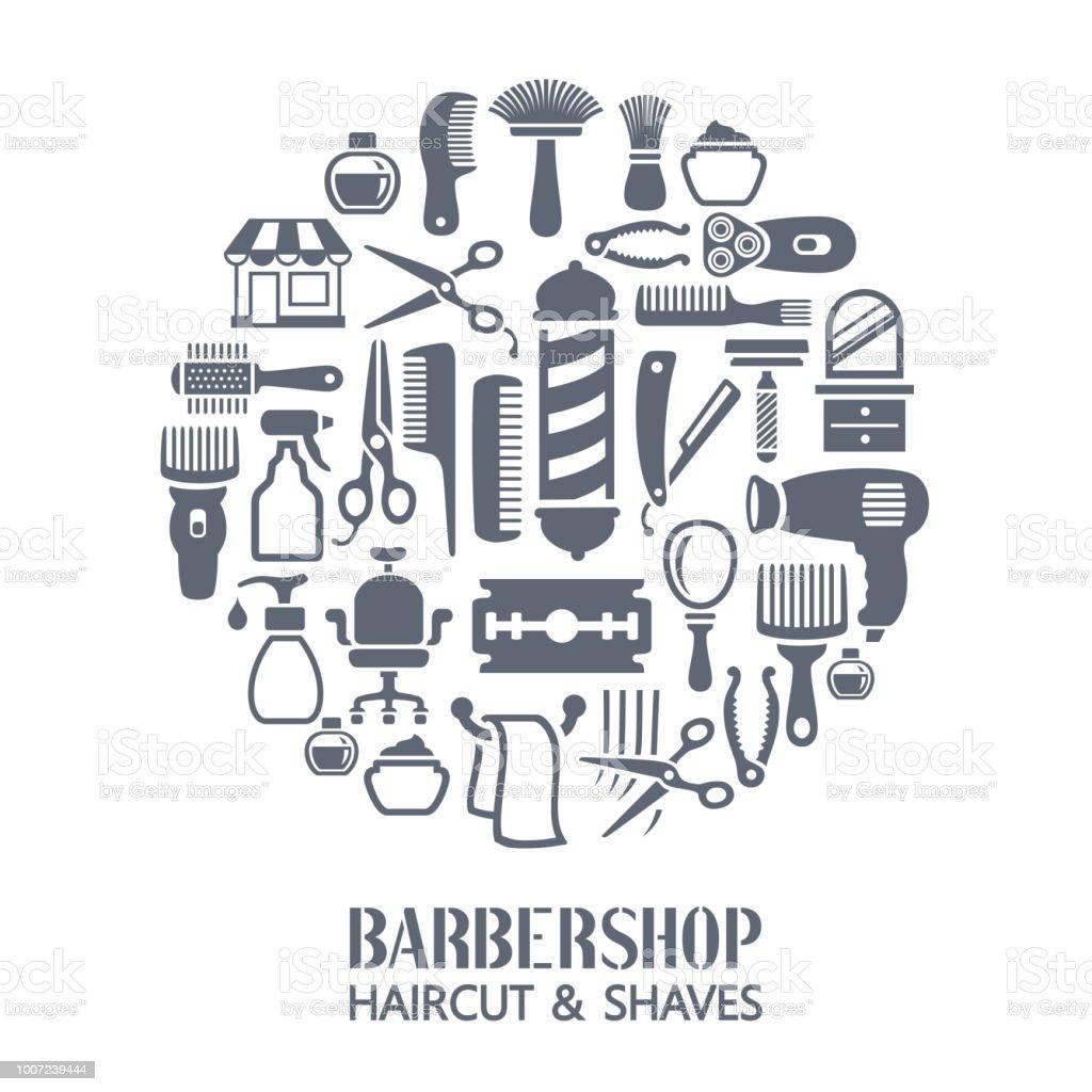 Barber shop collage vector art illustration