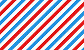 istock Barber shop concept pattern. Barbershop background. Vector red, white and blue diagonal lines seamless texture. 1291379698