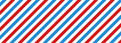 istock Barber shop concept pattern. Barbershop background. Vector red, white and blue diagonal lines seamless texture. Vector on isolated background. EPS 10 1297610123