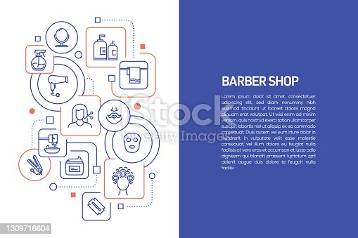 Barber Shop Concept, Vector Illustration of Barber Shop and Icons