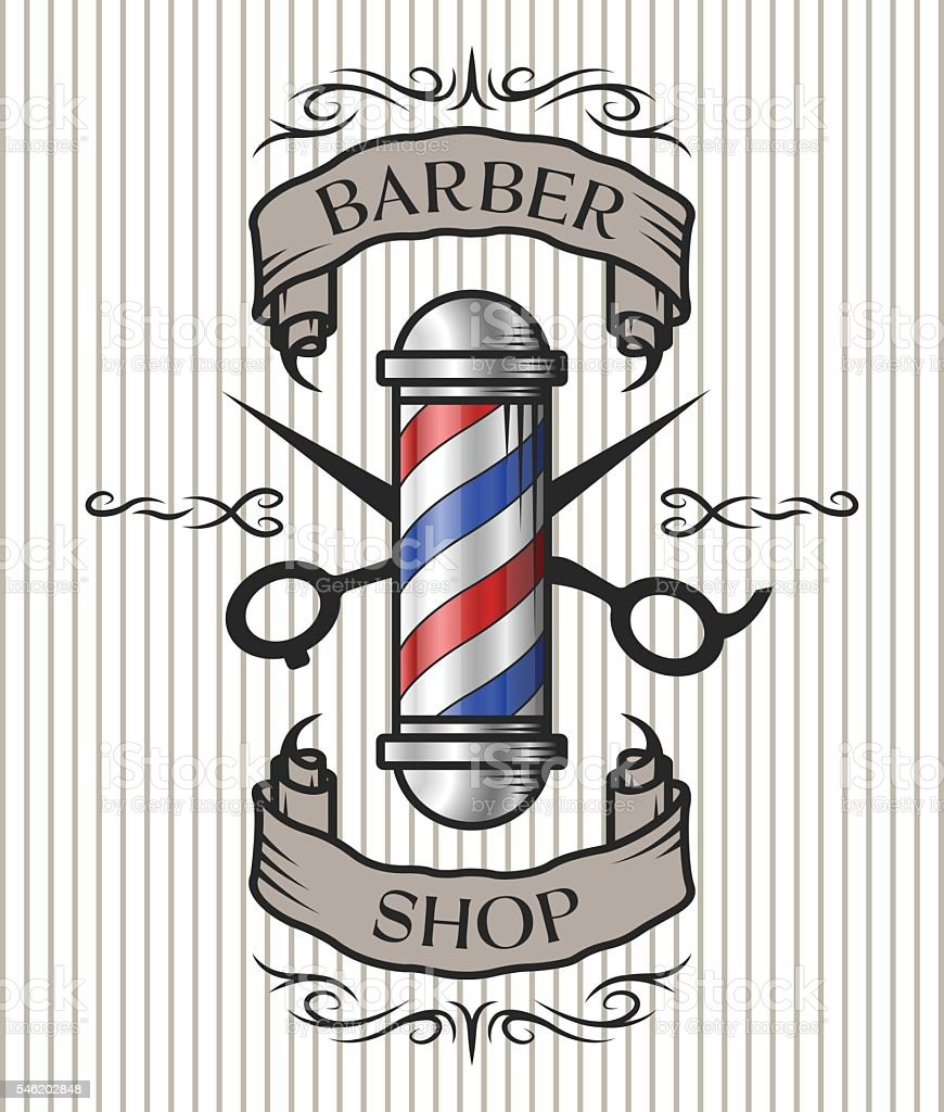 barber shop escudo arte vectorial de stock y m225s