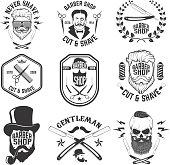 Barber shop emblems. Set of the barber tools.