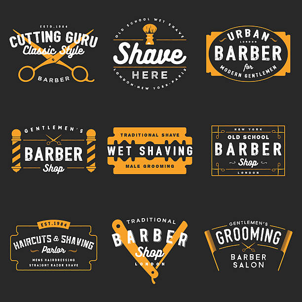 Barber Shop Emblems 100% Vector set of vintage barber shop emblems. blade stock illustrations