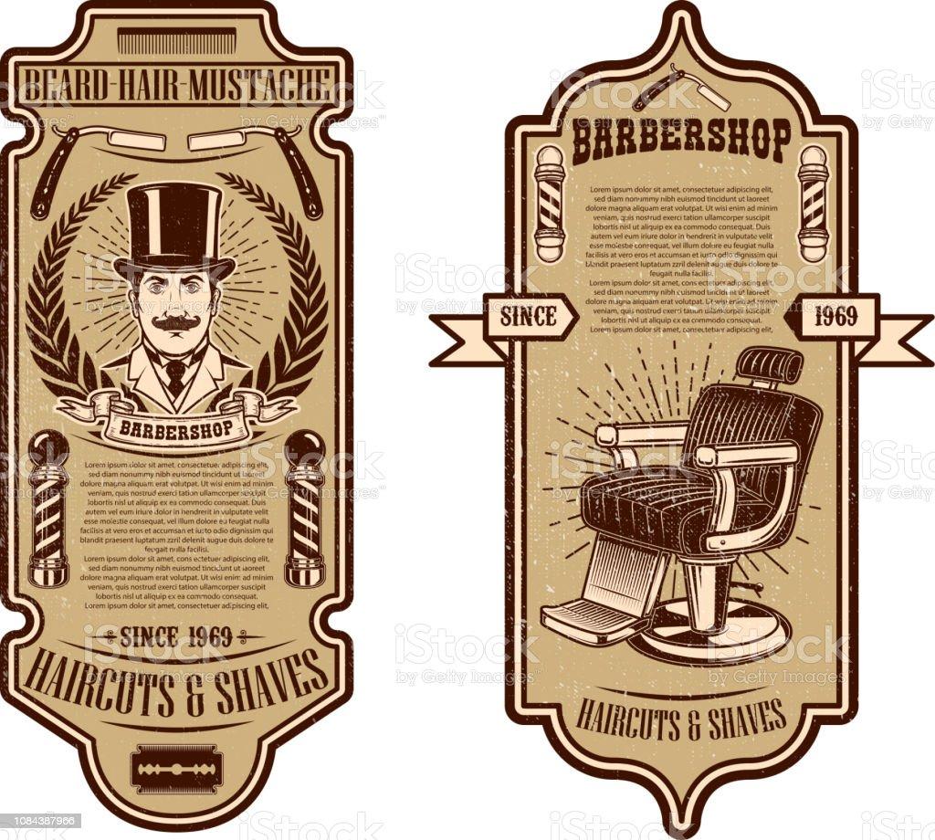 Modelo de folheto de loja de barbeiro. Cadeira de barbeiro e ferramentas sobre fundo grunge. Desenha o elemento para o emblema, sinal, cartaz, cartão, banner. - ilustração de arte em vetor