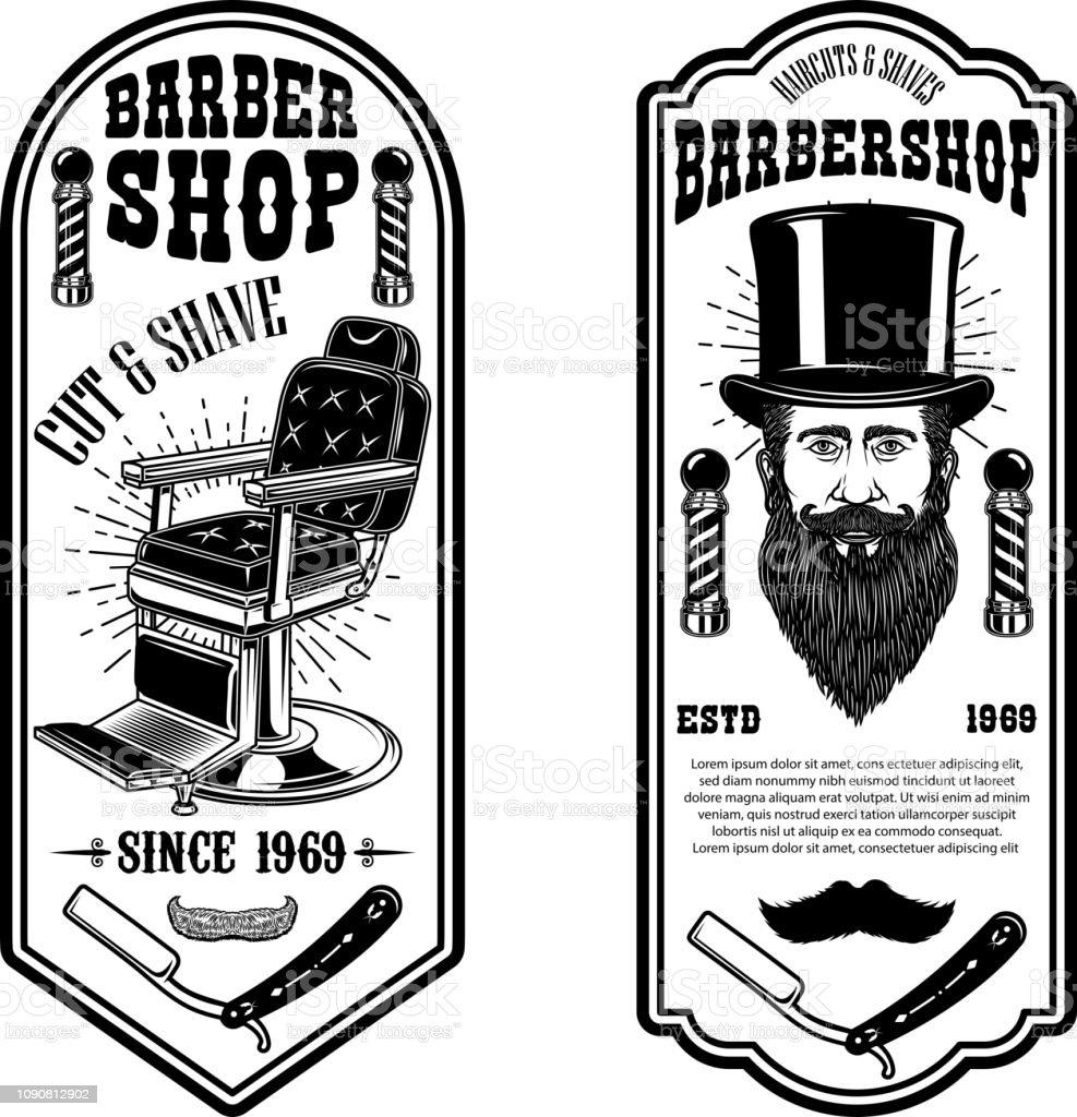 Modelo de folheto de loja de barbeiro. Cadeira de barbeiro e ferramentas sobre fundo branco. Desenha o elemento para o emblema, sinal, cartaz, cartão, banner. - ilustração de arte em vetor