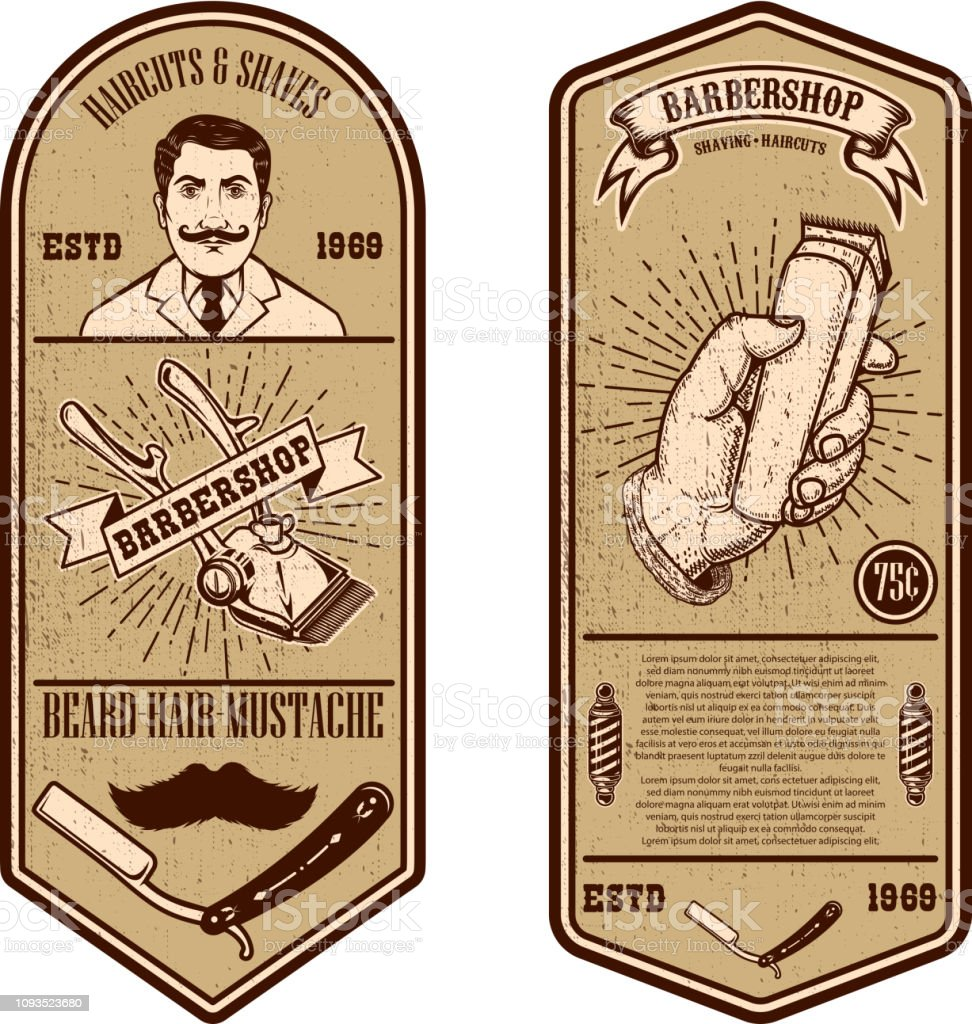 Modelo de folheto de loja de barbeiro. Ferramentas em fundo grunge do barbeiro. Desenha o elemento para o emblema, sinal, cartaz, cartão, banner. - ilustração de arte em vetor