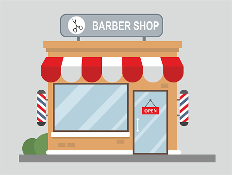 Barber shop front view flat design